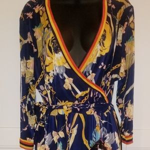 Sexy Printed Navy Blue & Yellow Wrap Dress